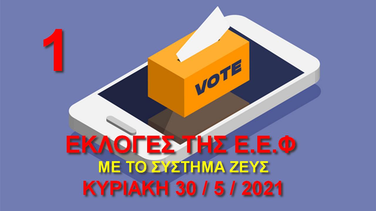 Εκλογές της Ε.Ε.Φ. Κυριακή 30 Μαΐου 2021 - Ανακοίνωση 1η