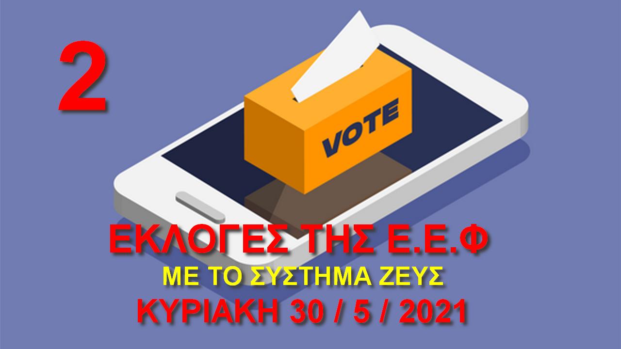 Εκλογές της Ε.Ε.Φ. Κυριακή 30 Μαΐου 2021 - Ανακοίνωση 2η