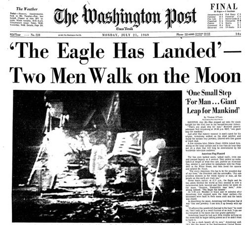 21 Ιουλίου 1969: Tα πρωτοσέλιδα των εφημερίδων αναγγέλλουν: «ο άνθρωπος περπάτησε στη Σελήνη»